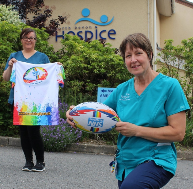 North Devon Hospice nurses with the rugby ball and shirt created by Aramis Rugby, with all proceeds going to charity. Picture: NDH