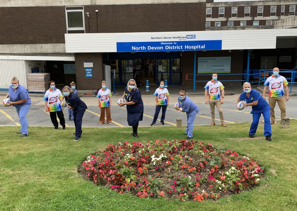 Staff at North Devon District Hospital with the rainbow rugby balls and shirts created by Aramis Rugby of South Molton, with all proceeds from sales going to hospital charity Over & Above and North devon Hospice. Picture: O&A
