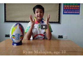 Ryan Mahajan raising funds for Charity with rainbow themed rugby ball, shirt and facemasks