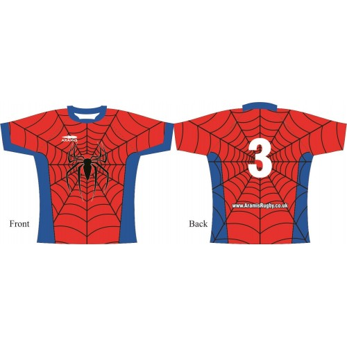 Rugby Tour Shirt - Design1 - Spiderman - Aramis Tour Shirts manufacturer ARAMIS RUGBY Seller - Aramis Rugby - www.AramisRugby.co.uk