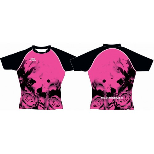 Rugby Tour Shirt - Design36 - Pink Flower - Aramis Tour Shirts manufacturer ARAMIS RUGBY Seller - Aramis Rugby - www.AramisRugby.co.uk