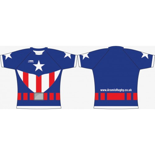 Rugby Tour Shirt - Design18 - Captain America - Aramis Tour Shirts manufacturer ARAMIS RUGBY Seller - Aramis Rugby - www.AramisRugby.co.uk